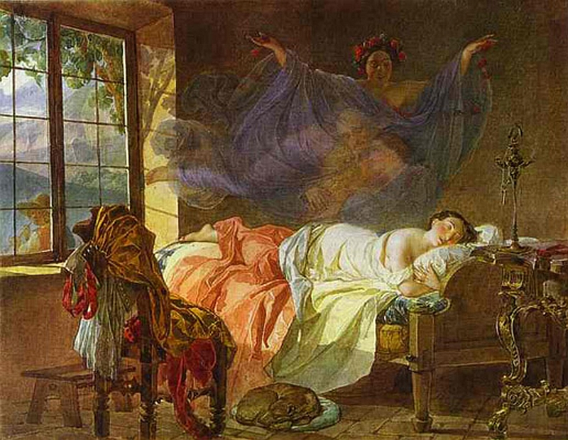 A Dream of a Girl Before a Sunrise by Karl Bryullov (1830-1833)
